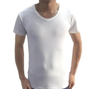 Мъжка бяла спортна лятна тениска, слим, с къс ръкав