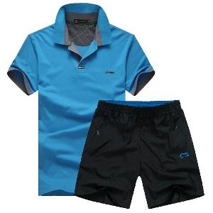 Li Ning памучни спортни екипи от две части тениска и къси панталони.