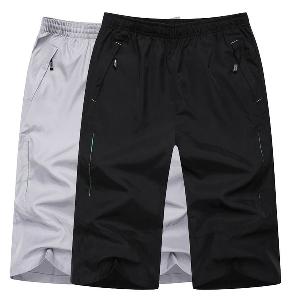 Мъжки къси спортни памучни панталони в сив и черен цвят