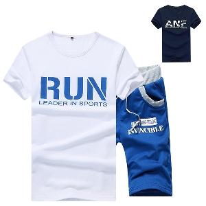 Летни спортни екипи ежедневни с къси ръкави тениска и анцуг