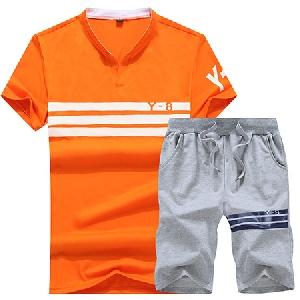 Спортни мъжки екипи с къси ръкави в оранжев,бял и черен цвят 4 модела