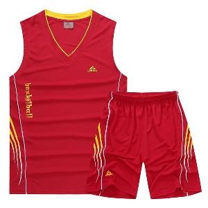 Мъжки летни спортни екипи, комплект от дишащ потник за фитнес и баскетбол и удобни къси панталони жълти, сини, червени