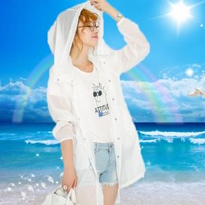 Дамско тънко слънцезащитно яке с качулка прозрачно, лятно, синьо, цикламено, розово
