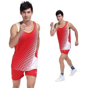 Мъжки спортни летни екипи потник и къси панталони сини, червени, черни, дишащи и бързосъхнещи