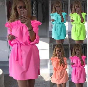 Дамски къси  рокли в четири летни искрящи цвята