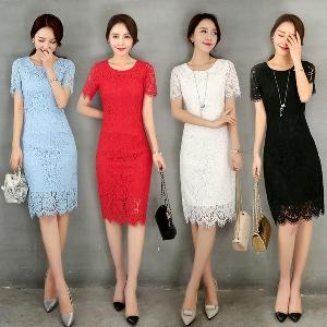 Лятна дантелена дамска рокля до коляното в бял,черен,червен и светло син цвят.