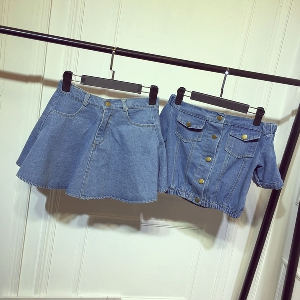 Дамски летен топ дънков комплект от къса риза и къса деним пола