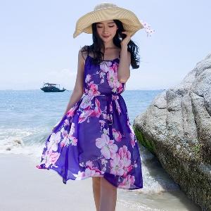 Дамска шифонена плажна рокля с цветя - 2 модела