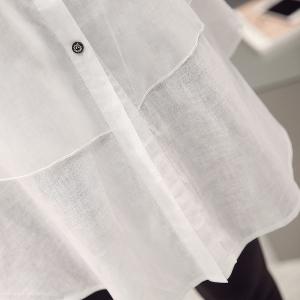 e1a7313f194b Κυρίες μακρύ καλοκαίρι ρετρό σιφόν λευκό πουκάμισο με κουμπιά και floral  prints και κοντά μανίκια