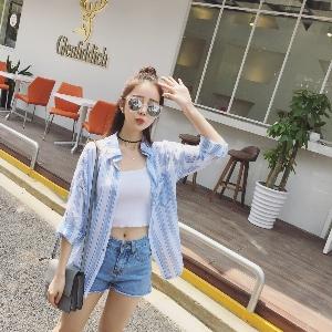 Дамска риза с вертикални ивици с дълъг ръкав  хлабава памучна риза