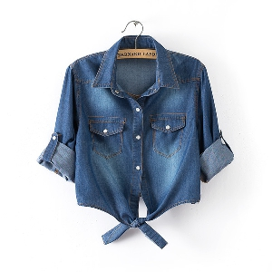 d5e6601debe4 τζιν πουκάμισο γυναικών μπλε κοντομάνικο - 2 μοντέλα - Badu.gr Ο ...