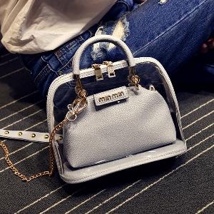 Прозрачни дамски чанти с дълга златна верижка за през рамо в свежи топли цветове, подходящи за топлите сезони