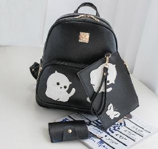 Комплект от дамска раница и портмоне с щампа на коте и пеперуда - розов,черен и бежов цвят