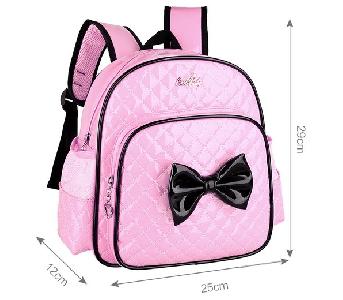 Детски ученически раници с панделка за момичета подходящи за малки ученици розови, цикламени, зелени, лилави