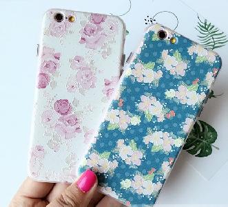 Дамски телефонни кейсове за iPhone 6/6s и iPhone 6p/6sp в бял и син модел с цветя