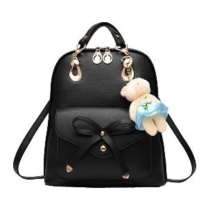 Дамска раница от изкуствена кожа чанта за рамо с двойна употреба чанта свободно време за пътуване