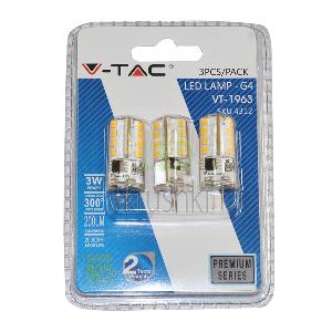 LED крушка - 3W 12V G4 Силикон Топло бяла светлинао Блистер 3 бр.