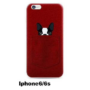 TPU кейс за телефон iPhone 5/5s iphone 6p/6sp iPhone 6/6s с френски булдог в сив и червен модел