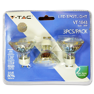 LED Крушка - 4W GU10 Стъклена Топло Бяла Светлина Блистер 3 броя