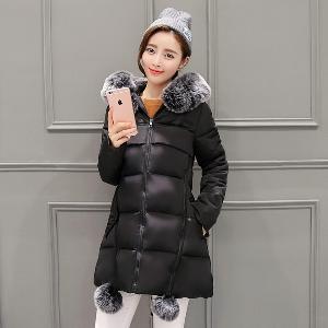 Дебело дамско зимно яке с пух и звезда на гърба - 5 цветови модела