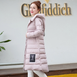 Дебели дамски зимни якета с дължина до коляното в сив,черен,червен,зелен и розов цвят