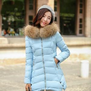 Дамски уникални дълги цветни зимни якета със свалящ се пух