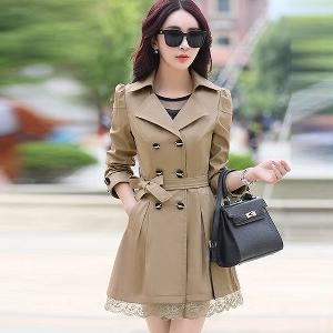 Дамско есенно зимно пролетно палто със средна дължина и в няколко топ цветове жълто, червено, праскова, бордо слим дантела