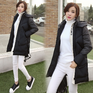 Дамски дебели дълги зимни якета  в сив и черен цвят