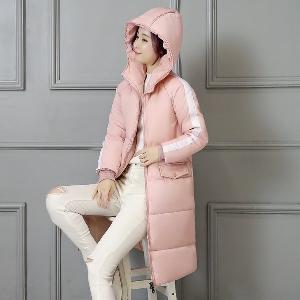 χειμώνα παχύ και μακρύ φουσκωτό μπουφάν των γυναικών με κουκούλα ροζ, μαύρο, ροζ