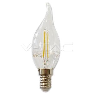 LED Крушка - 2W Filament E14 Кендъл Пламък Топло Бяла Светлина