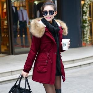 Дамско дълго топло яке с пухена качулка в осем цвята.
