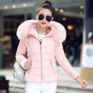 Зимно дамско яке с дебела пухена яка бяло, сиво, синьо, розово, червено