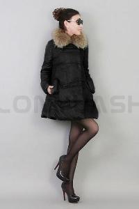 Дълго зимно дамско яке в четири цвята-с пухена качулка