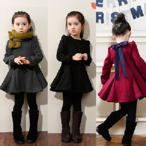 Кашмирени рокли в три цвята за малки момичета.- Черно Червено Сиво