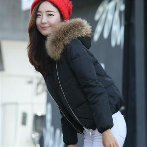 Топло зимно яке  с огромна качулка от естествен косъм