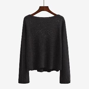 Плетен широк пуловер с дълъг ръкав