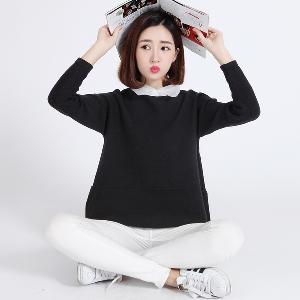 Есенни пуловери с дантелена бяла яка .