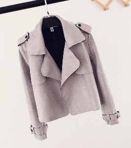 Χειμώνας σουέτ σακάκι με ψηλό γιακά σε τέσσερα χρώματα.