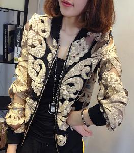 Λεπτό σακάκι δαντέλα με διαφορετικά σχέδια σε μαύρο και άσπρο