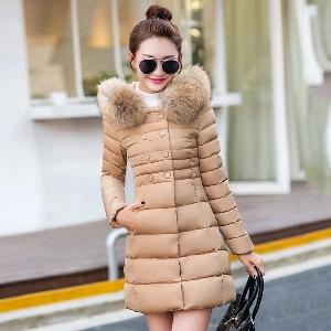 Зимни дълги дамски якета в пет цвята с качулка и пух.