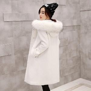Χειμερινό μπουφάν με κουκούλα κασμίρ τεράστιο λευκό γκρι