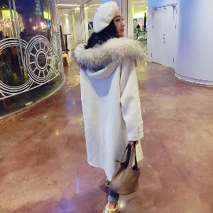 Зимно яке от кашмир с огромна качулка бяло сиво