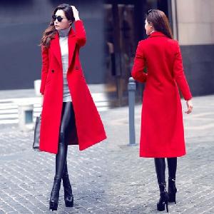 Γυναικείο μακρύ και κομψό μάλλινο παλτό σε 2 σχέδια - κόκκινο και μαύρο  χρώμα b6e561bf915