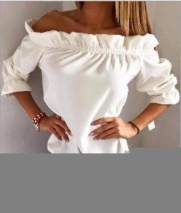 Дамски блузи с 3/4 ръкав с паднали рамене  в неонови цветове