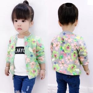 Ανοιξιάτικα μπουφάν για κορίτσια σε πράσινο και γκρι με λουλούδια ... eca460d25d1