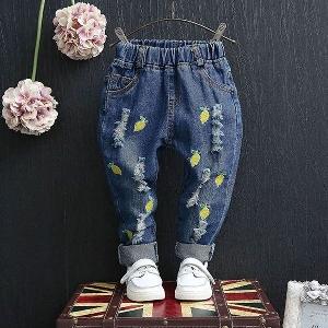 Детски дънки за момичета два модела  с плодове.