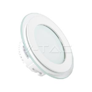 6W LED Панел Стъклено Тяло Кръг Променлива Светлина 3000К/4500К/6000К
