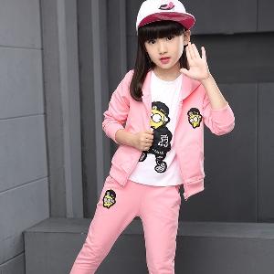Детски спортен екип за момичета от три части: суичър,блуза и панталон в сив,розов и червен цвят.