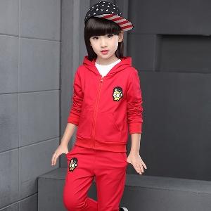 a69a06993db Детски спортен екип за момичета от три части: суичър,блуза и панталон в сив