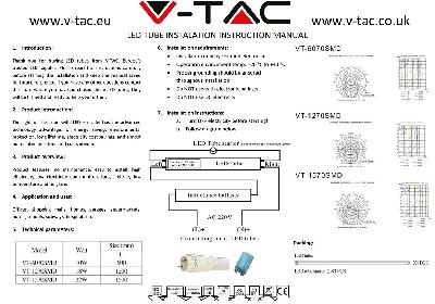 LED Пура T8 18W - 120 см Пластик 4500K